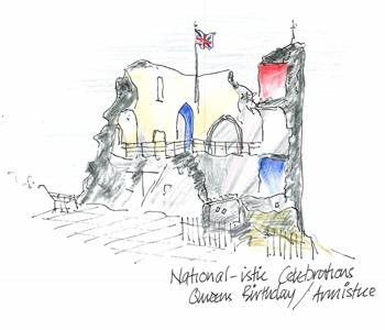 a sketch of the castle coloured yellow